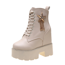 Women's Shoes 2019 New Short Boots Women's Tide Thick-soled Martin Boots 12cm Ultra-High Heeled Heel winter the spring and autumn martin boots high heeled boots tide thick soled boot female british style lace up shoes boots big shoes