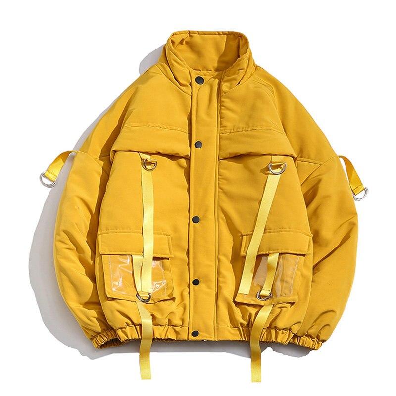 Winter Jacket Men 2019 New Parka Coat Men Oversized Ribbons Pockets Male Jacket Casual Parks Big Size Streetwear M-5XL