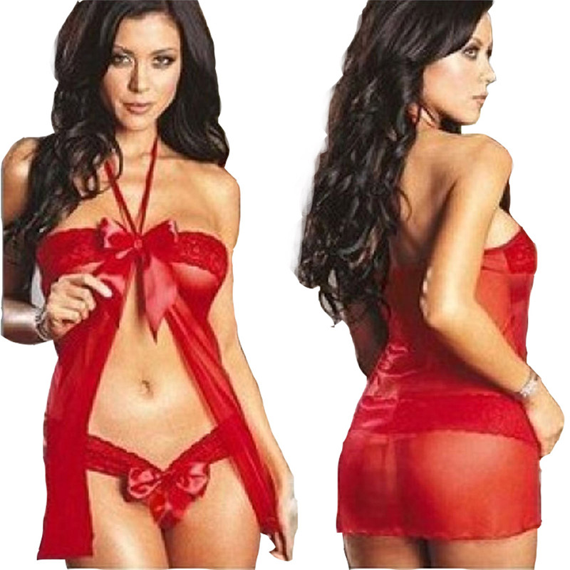 Women <font><b>Sexy</b></font> Lingerie Hot Erotic Costume Halter Lace Sleepwear Nightgown G String Set <font><b>Bodydoll</b></font> Femme Underwear Sleepwear Nightgown image