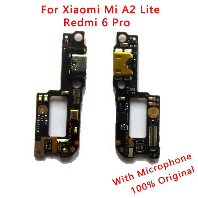 Oryginalny PCB deska wstążka Port ładowania dla Xiao mi mi A2 Lite ładowarka palant złącze Flex Cable dla czerwony mi 6 Pro naprawa części
