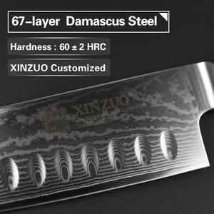 """Image 2 - XINZUO 7 """"Santoku סכין vg10 דמשק יפני נירוסטה סכיני מטבח מקצועי שף קליבר לבשל כלים G10 ידית"""