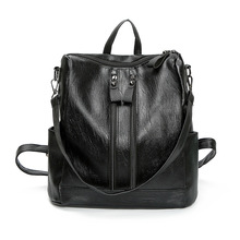 Women's backpack 2020 new Korean Black PU Soft Leather Travel Backpack Versatile Fashion College style women's bag