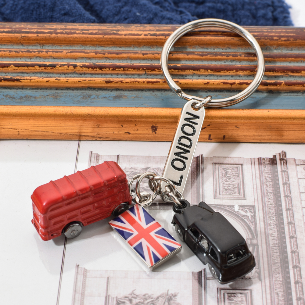 Vicney Fashion London Lettering Listing Key Chain London Red And Black Taxi British Flag Souvenir Gift For Keyring Ring For Key