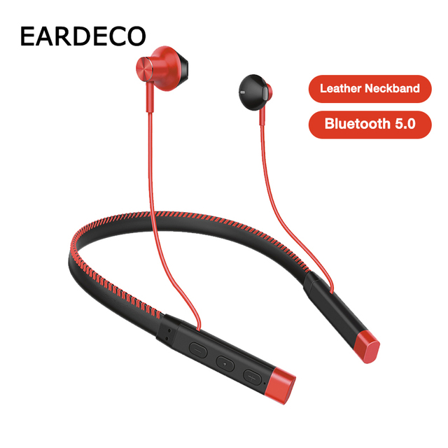 EARDECO skórzane słuchawki z pałąkiem na kark słuchawki Bluetooth słuchawki Stereo ciężki bas słuchawki bezprzewodowe Hifi wodoodporne słuchawki z Bluetooth