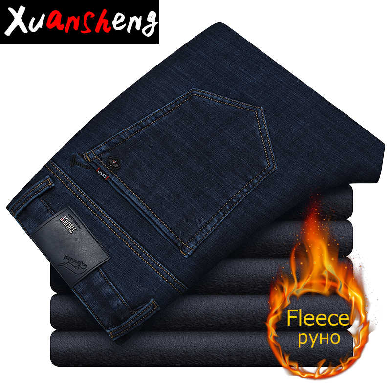 Xuansheng plus velvet jeans 2019 black new classic brand straight stretch fleece warm wide leg pants long pants streetwear jeans