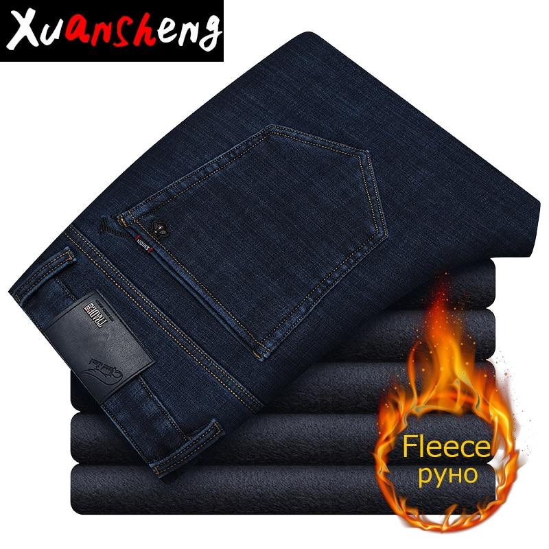 Xuansheng Plus Velvet Jeans 2019 Black New Classic Brand Straight Stretch Fleece Warm Wide Leg Pants Long Pants Streetwear Jeans