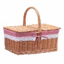 40*30*20cm quadrado de vime salgueiro cesta de piquenique cesta cesta de compras saco com tampa e forro floral para piquenique de acampamento ao ar livre