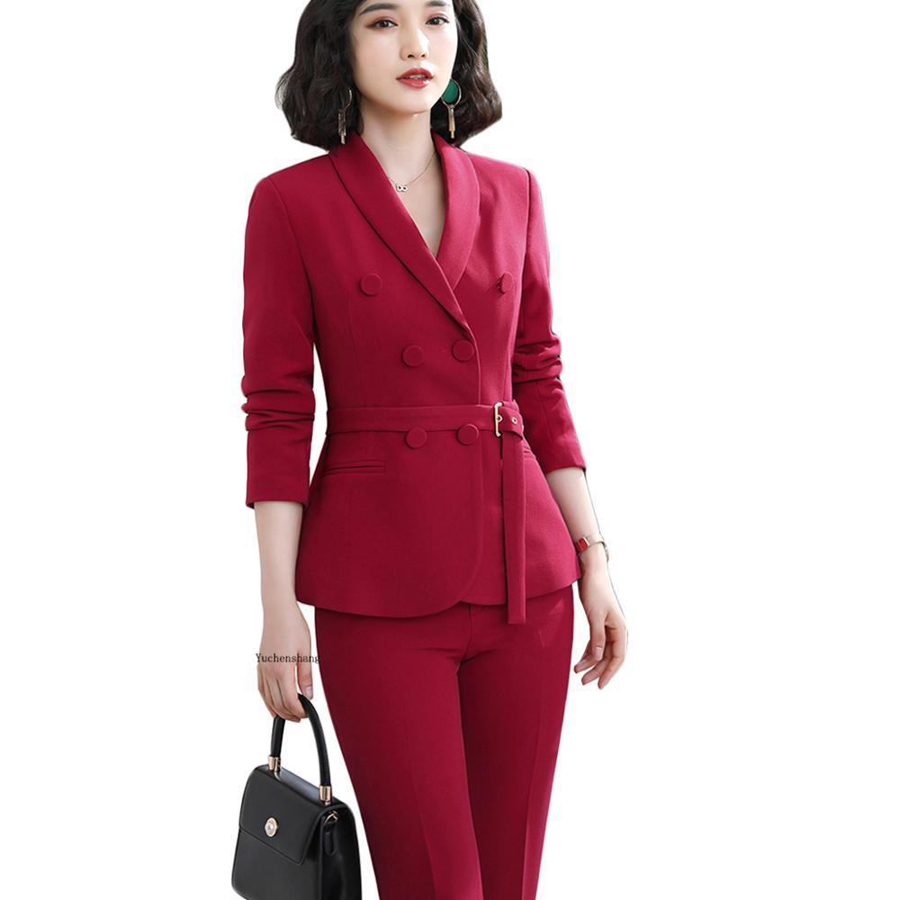 Women Solid Casual Blazer With Belt Autumn Winter Outerwear Female Women Tripe Breasted Button Jacket Coat Green Red Black