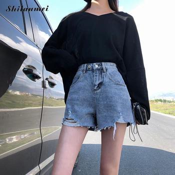 Women Denim Shorts Short Jeans blue Wide Leg Elastic Waist Vintage High Waist Shorts Women Summer Shorts цена 2017