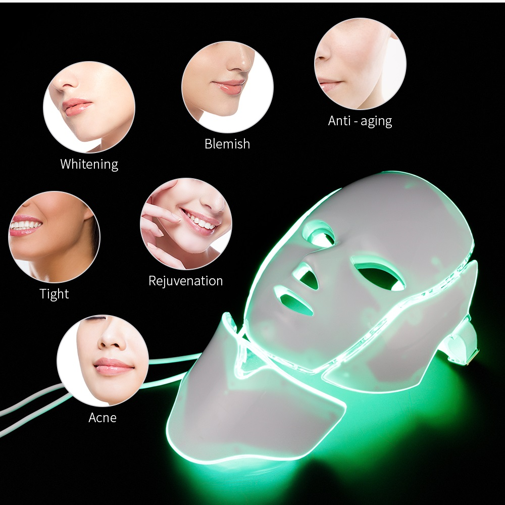 Foreverlily 7 couleurs Led masque Facial Led coréen Photon thérapie masque Facial Machine luminothérapie acné masque cou beauté masque Led - 2
