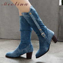 Meotina Winter Knee High Boots Women Denim Pleated Thick High Heel Long Boots Buckle Round Toe Shoes Ladies Autumn Big Size 4-12 цена