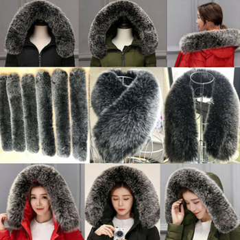 60/70/75/80cm Real Fox Fur Collar Natural Fur Band Trimming Women Scarves Coat Accessories image