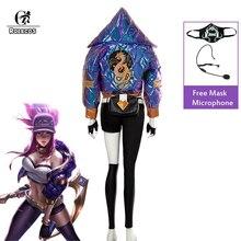Disfraz de Cosplay de ROLECOS KDA Akali, LOL KDA, traje de fantasía de Akali, máscara con micrófono, abrigo de invierno, disfraz de Halloween