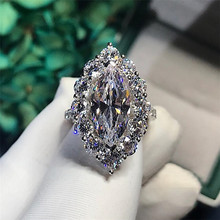 Fashion Brand New Vintage Jewelry 925 Sterling Silver Marquise Cut White Clear AAAAA Cubic Zircon Promise Women Wedding Ring