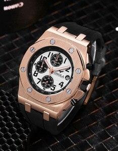 Image 4 - ONOLA di marca del quarzo di modo casuale mens orologio cronografo orologio da polso Multifunzione tutto in metallo oro nero orologio da polso impermeabile per gli uomini