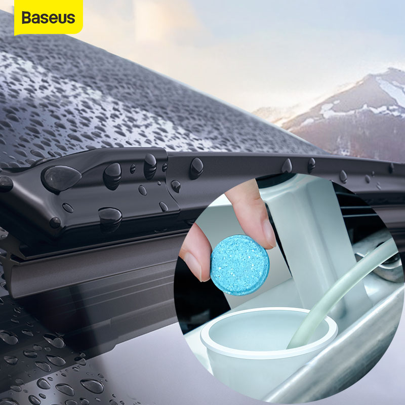 Baseus 12PCS Car Windshield Glass Cleaner Effervescent Tablets Car Solid Wiper Seminoma Wiper Auto Window Cleaner Car Accessorie