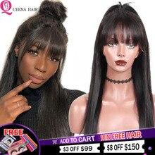 Düz insan saçı peruk patlama ile tam makine örgülü peruk siyah kadınlar için ucuz dantel ön peruk patlama ile brezilyalı saç peruk
