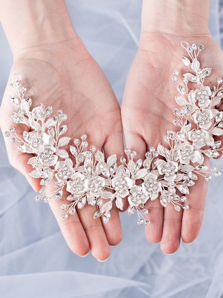 Image 2 - Trendy Silver Flower Bridal Headband Prom Tiara Wedding Hair Accessories Handmade Hair Vine Crystal Headband Bride Hair JewelryHair Jewelry   -