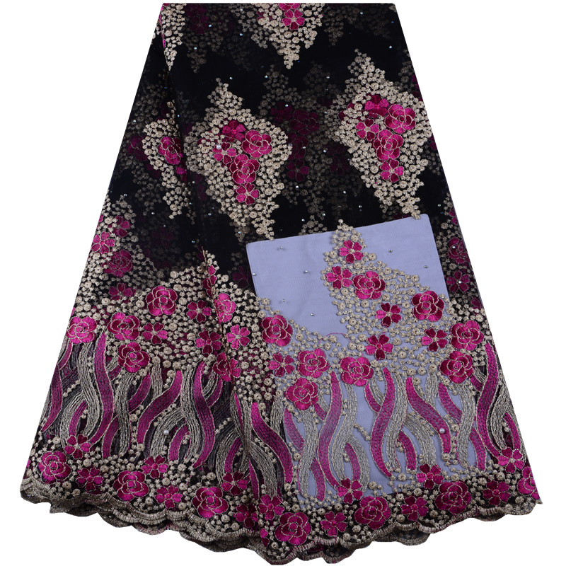 High Quality French Lace African Swiss Tulle Lace Fabric Floral Embroidery Nigerian Lace Fabric Sewing Cloth For Wedding
