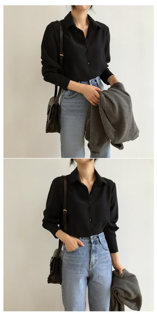 New Women's Shirt Classic Chiffon Blouse Female Plus Size Loose Long Sleeve Shirts Lady Simple Style Tops Clothes Blusas 6830 50 6