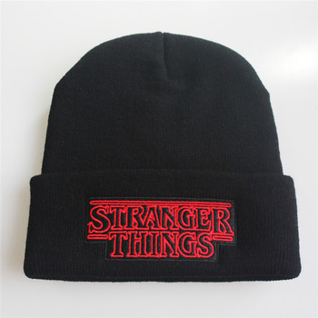 Stranger Things cosplay black Letter embroidery knit hat Autumn and winter festival hip hop Halloween fashion accessories