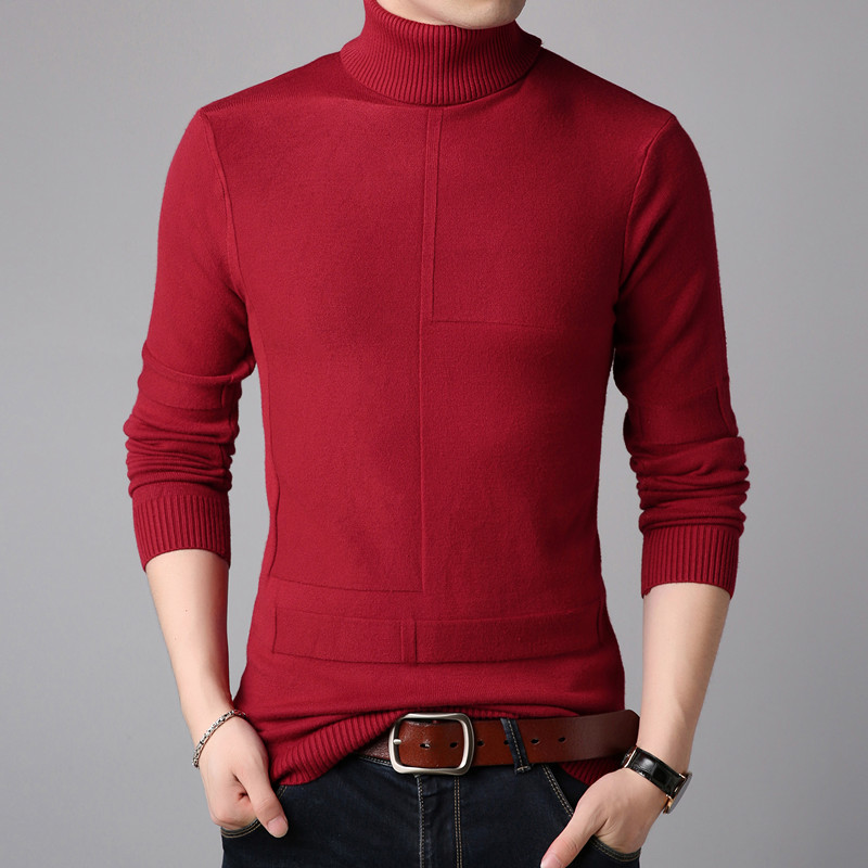 2019 Brand Clothing Fashion Men Autumn High Quality Cotton Knit Shirts/Male Slim Fit High Collar Casual Knit Sweater Size S-3XL