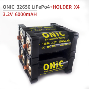 ONIC 4pcs 32650 LiFePO4 3.2v 6000mAH 33A 55A Rechargeable Battery Cell LiFePO4 5C Discharge Batteries with 4pcs 2x Holder