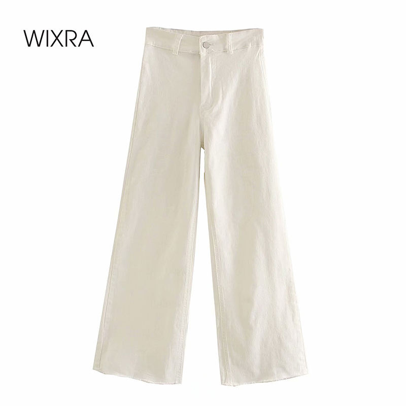 Wixra Womens Wide-leg Pants Loose Denim Pants High Waist Solid Long Trousers Autumn Spring For Women