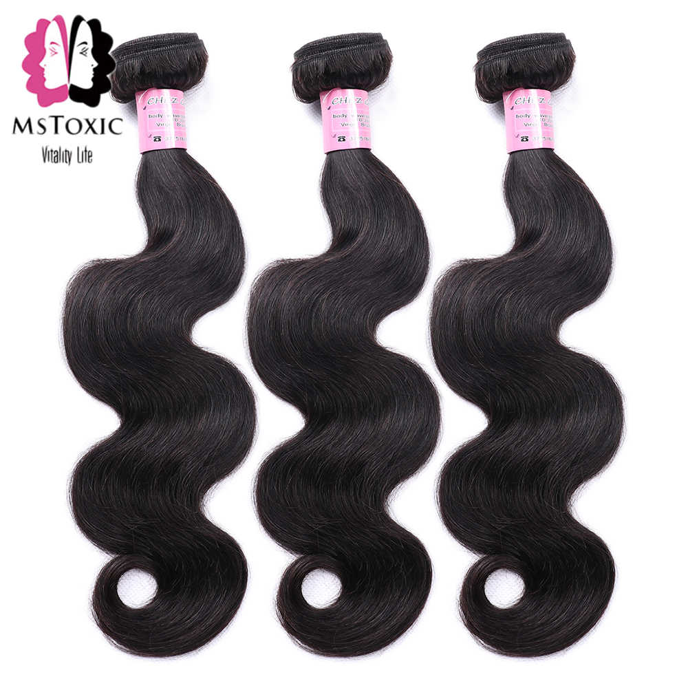 Mstoxic 4 Bundles Brazilian Body Wave Human Hair Bundles 8-28inch Natural Color Remy Hair Weave Extensions Free Shipping