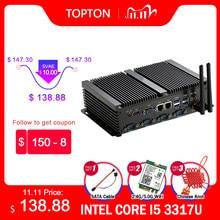 Mini PC industriel sans ventilateur 2 * lan Windows XP/7/10 Intel i5 3317U 1037U 1007U 4 * RS232 Mini ordinateur de bureau 300M Wifi HDMI + VGA