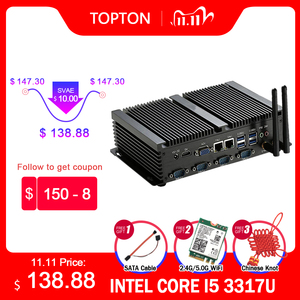 Fanless Industrial 2*Lans Mini PC Windows XP/7/10 Intel i5 3317U 1037U 1007U 4*RS232 Desktop Mini Computer 300M Wifi HDMI+VGA