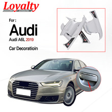 цена на Loyalty for Audi A6L 2019  External Door handle bowl trim cup hub Trim Frame Cover ABS Matte silver Car Accessories Auto Styling