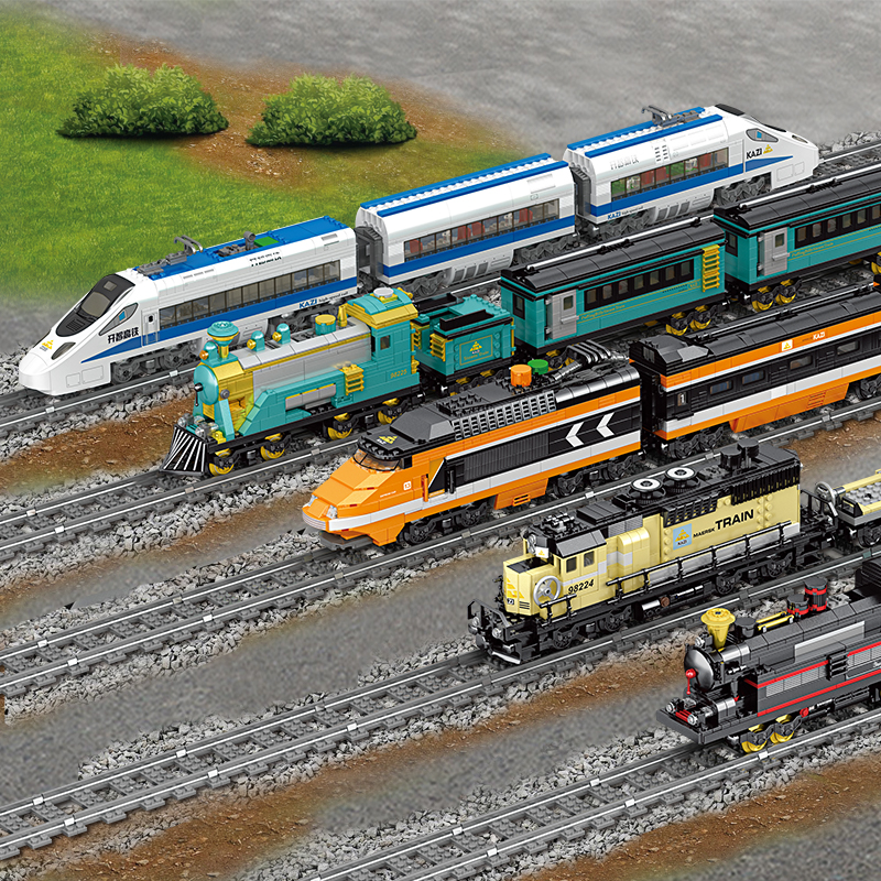 647PCS Technic Battery Powered Electric Classic City Train Rail Building Blocks Bricks Gift legoes Toys For Children Boys Girls image