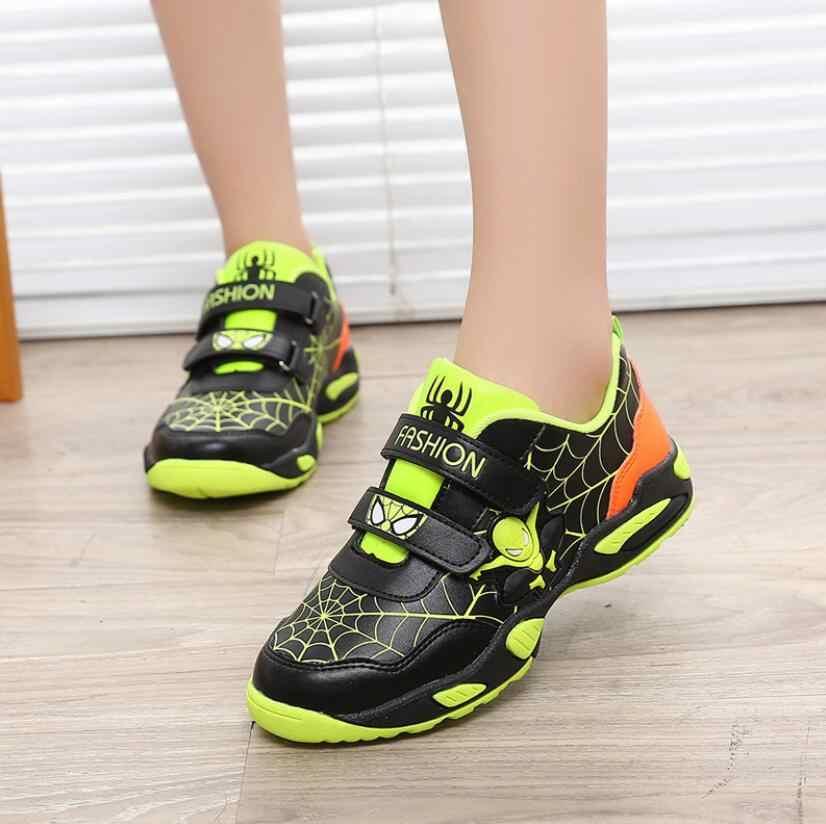 ฤดูหนาวชายหญิง Spider รองเท้าแฟชั่นรองเท้าผ้าใบเด็ก/เด็กเล็กหนังเด็กกีฬารองเท้ารองเท้าวิ่งนุ่ม
