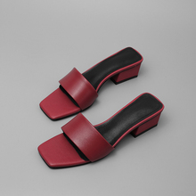 100% cow leather Women sandals Summer 4cm med Heels Shoes Wo