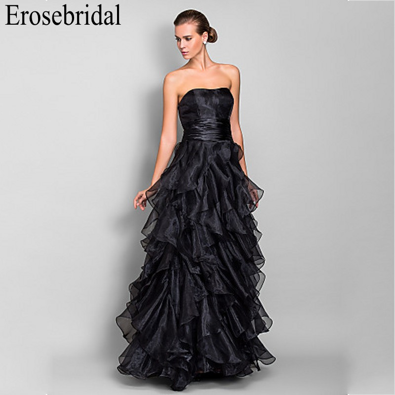Erosebridal Organza Black   Evening     Dress   Long Formal   Dresses     Evening   Gown Elegant Tiered Design Occasion   Dresses   for Women