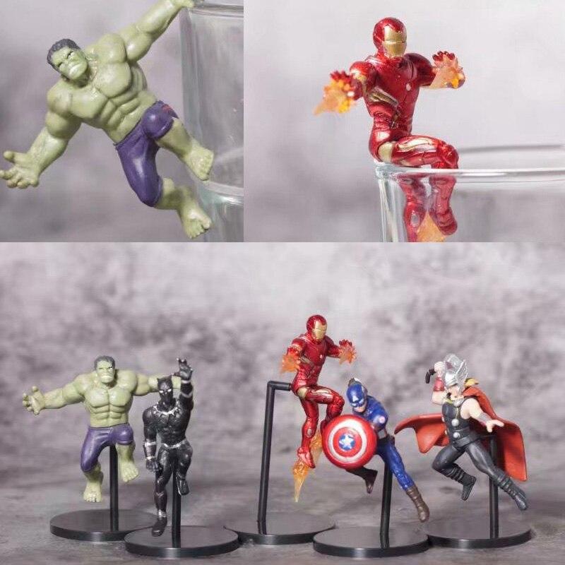Marvel Mini Figure Toys Iron Man Thor Hulk Captain America Miniature Figures Children Birthday Cake Figure Toys Decoration