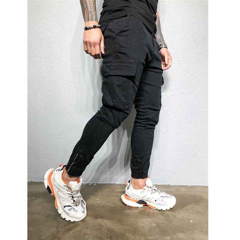 Hot Selling 2019 Men's Casual AliExpress Sports Ankle Banded Pants Zipper Woven Pants Solid Color Men's Trousers