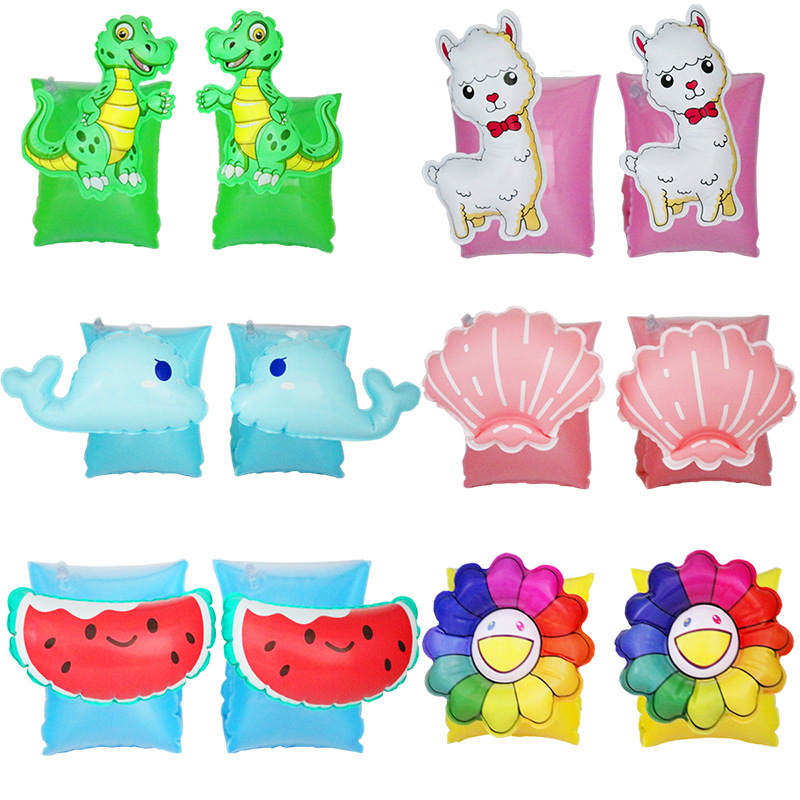 Baby Swimming Ring Arm Circle Pool Float Inflatable Swimming Safety Training Cartoon Watermelon Whale Dinosaur Pool Party Toys