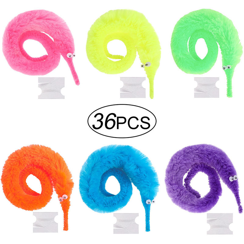 36pcs Magic Fuzzy Worm Wiggle Moving Sea Horse Kids Close-up Street Comedy Magic Tricks Toys image