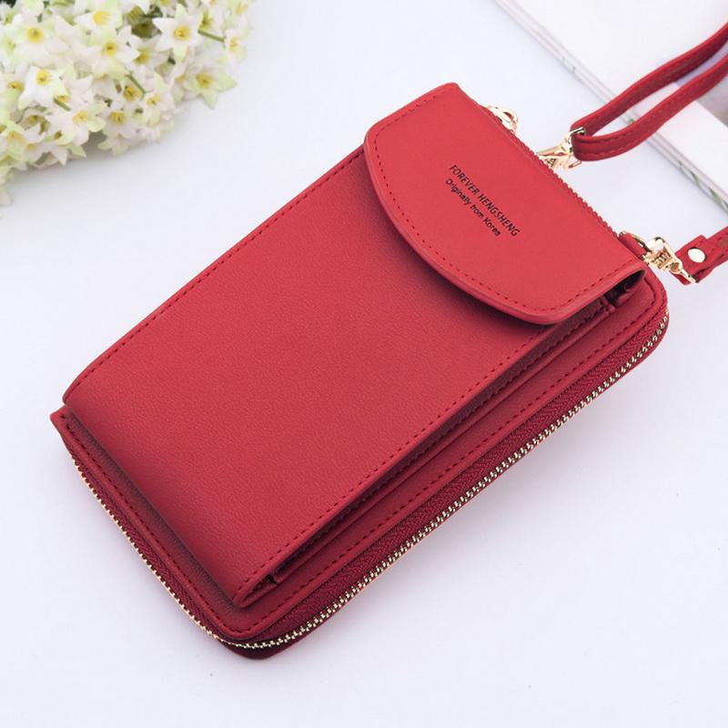 2020 Women Wallet Solid Color Leather Shoulder Straps Shoulder Bag Mobile Phone Big Card Holders Wallet Handbag Pockets Girls