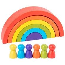 Enfants créatifs Montessori jouet arc-en-ciel couleur demi-cercle blocs de construction début éducatifs jouets en bois pour bébé