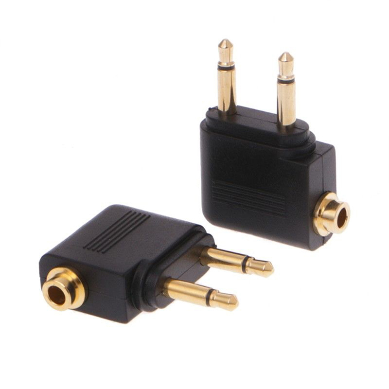 2pcs Gold Nickel plated Air Plane 3.5mm Airplane Airline Headphone Mono Audio Converter Travel Jack Plug Splitter Adapter image