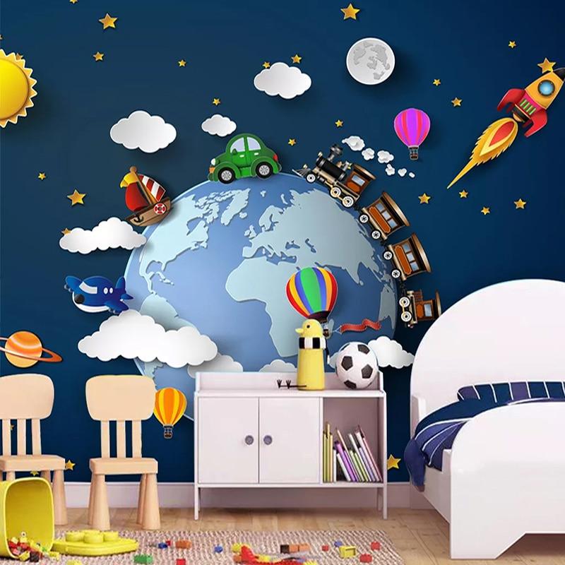 Custom 3D Photo Wallpaper Cartoon Car Starry Universe Planet Baby Bedroom Children Room Decoration Wall Mural Papel De Parede