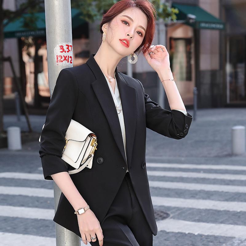 2020 autumn women's office suit pants two-piece high quality Temperament slim double-breasted ladies jacket Slim pants career