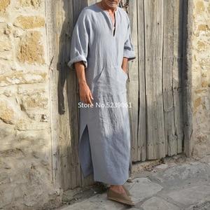 Image 3 - אסלאמי מסורתי Jubba Thobe גברים העבאיה פשתן מוסלמי גלימות דובאי ערבית קפטן בגדים Qamis Homme ערבי תורכי שמלת שמלת חיג אב