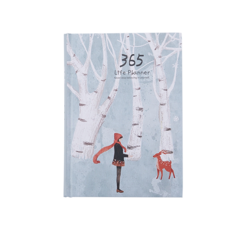 Creative Hardcover Year Plan Notebook 365 Days Inner Page Monthly Daily Planner Organizer Diary  White+green Snow deer|Planners| |  - title=