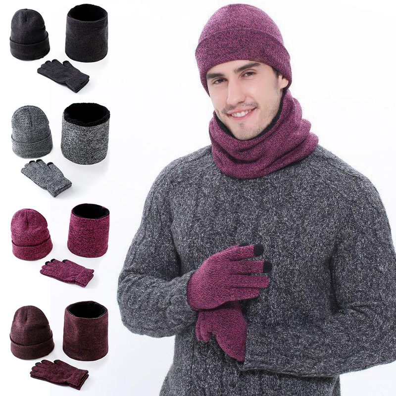 3-Piece Set Adult Mens Knitted Hat Gloves Scarf Sets 2019 Fashion Winter Thick  Warming Solid Color Clothing Accessories
