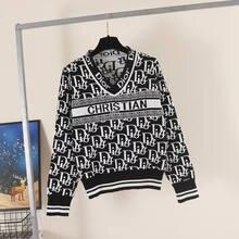 Damski dzianinowy nowy top damski kontrastowy żakardowy dekolt w serek długi sweter z rękawem