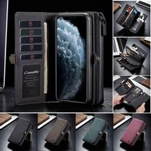 Deri çanta kılıf iPhone 12 11 Pro XS Max XR X SE 2020 8 7 artı cüzdan kapak için samsung S20 FE not Ultra 20 A51 A71 Coque